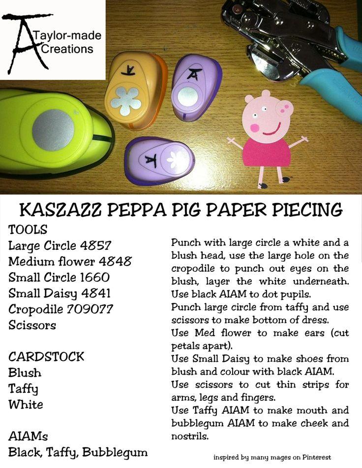 Peppa Pig Paper piecing using Kaszazz tools.