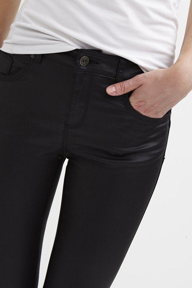 #Object 5-pocket gecoate jeans | #SkinnySally #fashion #fall16 #winter17 #black #blackestblack #blackisthenewblack