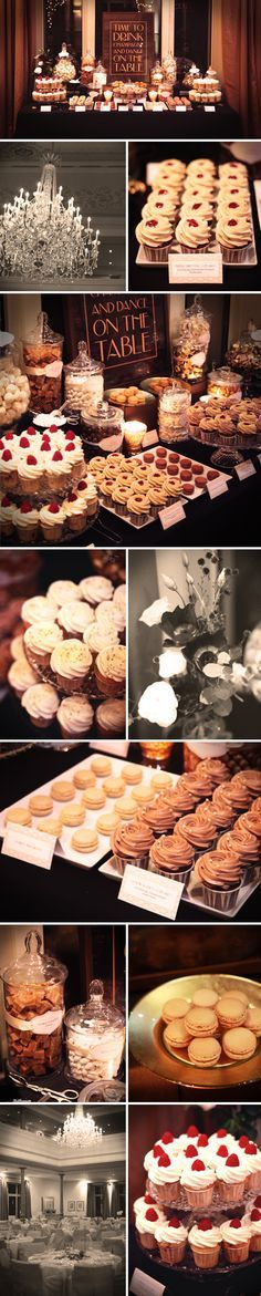 maybe we won't do a cake? how about a dessert bar with mini cupcakes, cheesecake shots, our favorite candy in jars