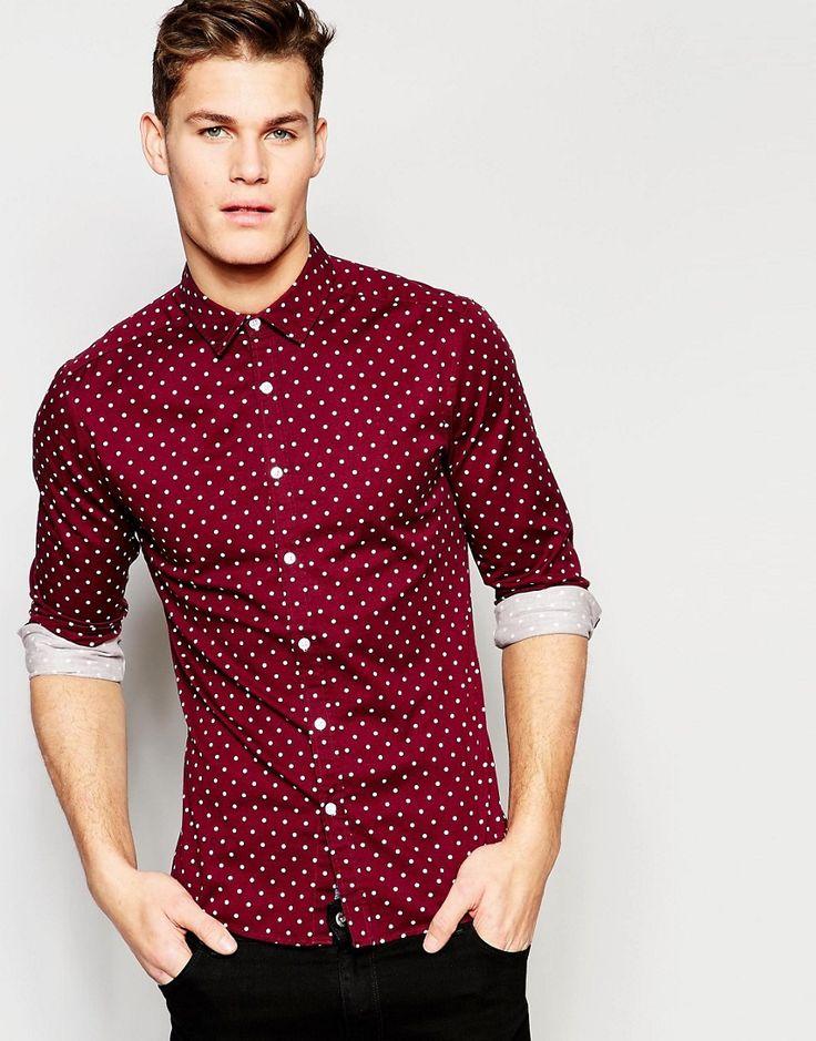 Image 1 ofASOS Skinny Polka Dot Shirt In Burgundy With Long Sleeves
