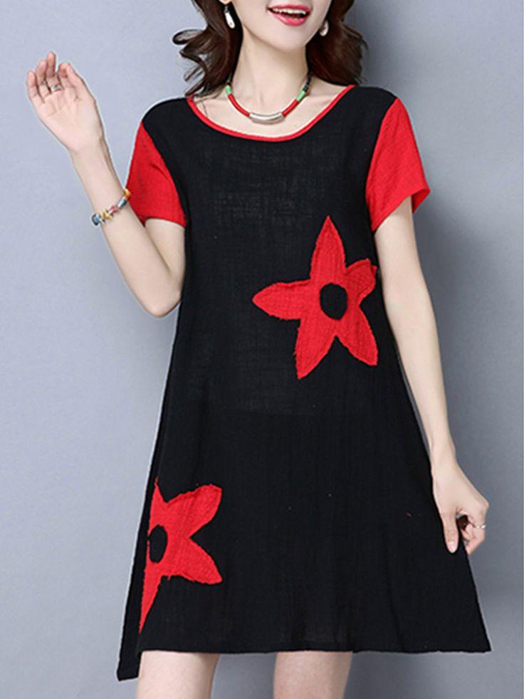 Patchwork folk Una linea vestito da donna a maniche corte O Collo