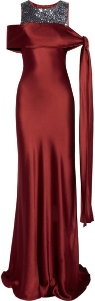 AMANDA WAKELEY ENGLAND   Tie Shoulder Sequined Silk Satin Gown - Lyst