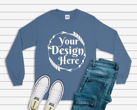 Download Free Gildan 2400 Long Sleeve Indigo Blue Unisex T Shirt Tee Psd Mockup Psd For Free Download Now And Use Clothing Mockup Shirt Mockup Free Packaging Mockup