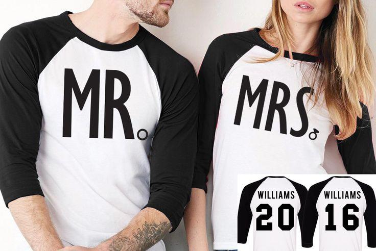 """MRS"" White/Black Baseball Tee & ""MR"" White/Black Baseball Tees Set - CUSTOM NAMES & NUMBERS Perfect for Wedding Events or the Honeymoon! ********************************************************** HOW"