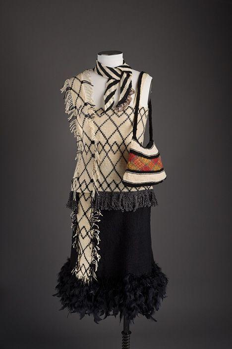 A stunning 'bilum' dress made by Cathy Kata. Love it