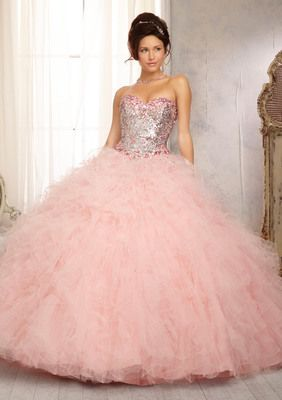 Elaborately Beaded Bodice with Ruffled Tulle Ball Gown Skirt Quinceanera Dress #88081PK