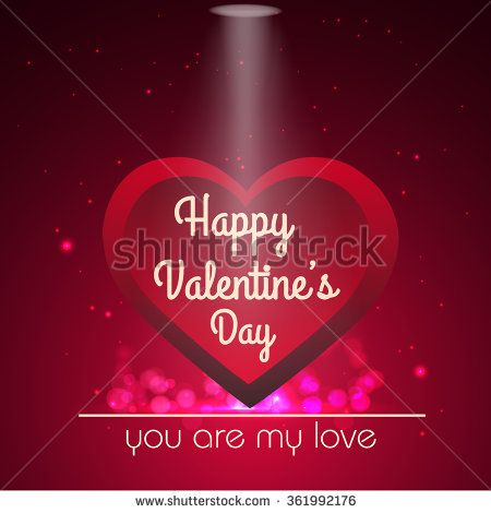 Vector Valentines day card with a red heart and background glowing element. - stock vector
