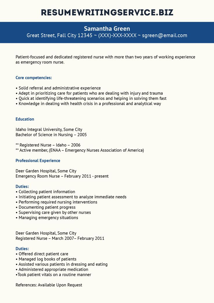 ER Nurse Resume Sample Emergency room nurse, Nursing