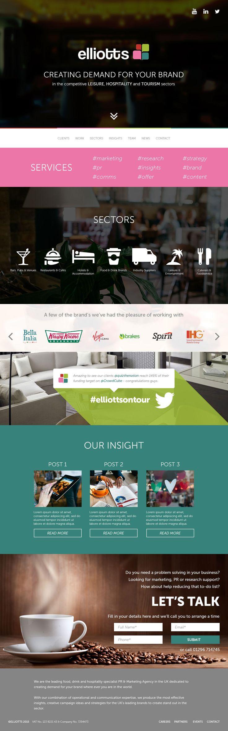 Website design for Elliots Agency in the UK.