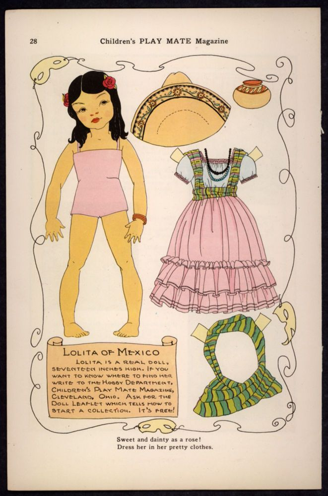 """Children's Play Mate"" Magazine Paper Doll Lolita of Mexico"