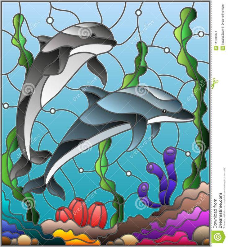 Ejemplo Del Vitral Con Un Par De Delfínes En El Fondo Del Agua Y Del Fondo Del Mar Ilustración del Vector - Ilustración de delfín, estilo: 111008821