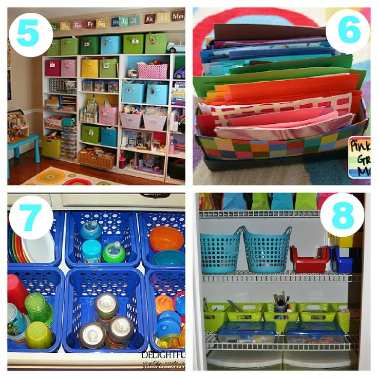 5. Organized kids room & organized toy storage solutions. 6. Rainbow Themed Color Box organization for Kids Crafts 7. Delightful Order did a fantastic Dollar Store Sippy Cup Drawer Organization 8. Craft Closet with Dollar Store & Target solutions
