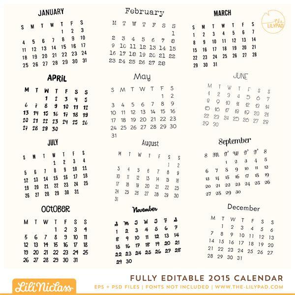 Fully Editable 2015 Calendar
