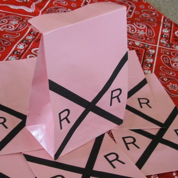 Pink Railroad Sign Birthday Party Sacks Train Theme Goody Bags by jettabees on Etsy