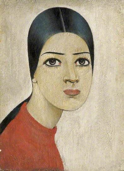 l.s. lowry || portrait of ann in a red jumper