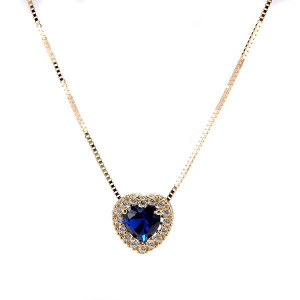 Κολιέ καρδιά χρυσό Κ14  μπλε ζιργκόν