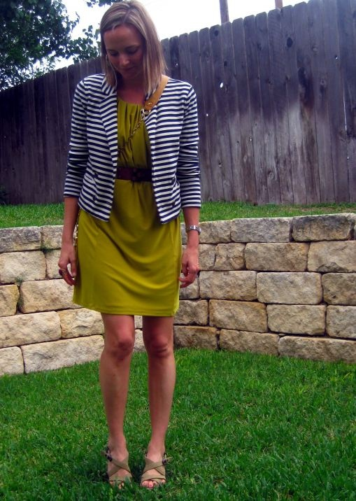 Great work outfit, I need a blazer that fits! #blazer #striped #acidgreen #navy #white #dress #summer #spring #fall #wedges #belted #dressy