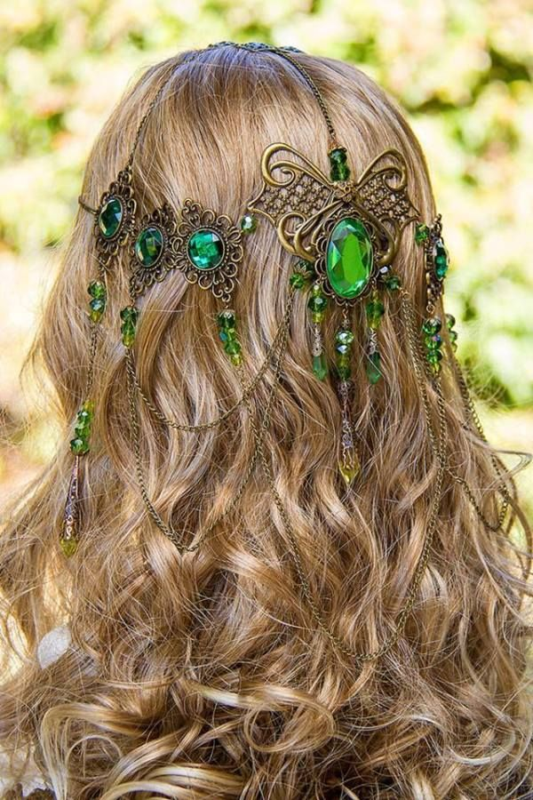 Celtic Drop Crown - Green, Nature, Costume / Cosplay Piece, Wedding