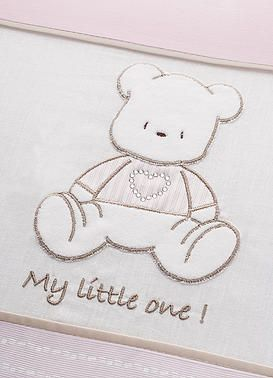 Baby Oliver Teddy Pink baby bedding embroidered collection with original Swarovski Crystals