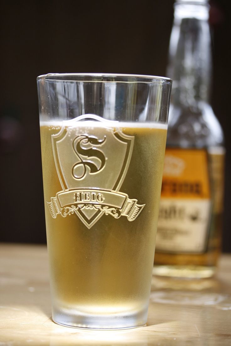 Personalized Shield and Banner Pub Set - set of 4 (m30). Engraved Personalized Pub Glass. Etched monogram on personalized pub, pint, beer or water glasses are a stunning and classic gift for the man, woman or couple who has discriminating taste. Deeply carved using our sand carving technique, each of our custom pint or pub glasses are meticulously custom made to order making them the perfect gift for those seeking unique gift ideas for beer lovers - men and women alike.