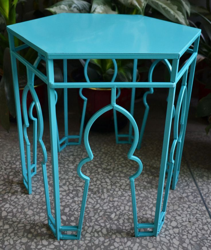 Sky Blue Citadel Side Table - Middle Eastern inspired design and currently reduced in our latest Sale. Get yours BUY 2 GET 2! | #blue | #citadel | #sidetable | #middleeasterndesign | #design | #colour | #philbee