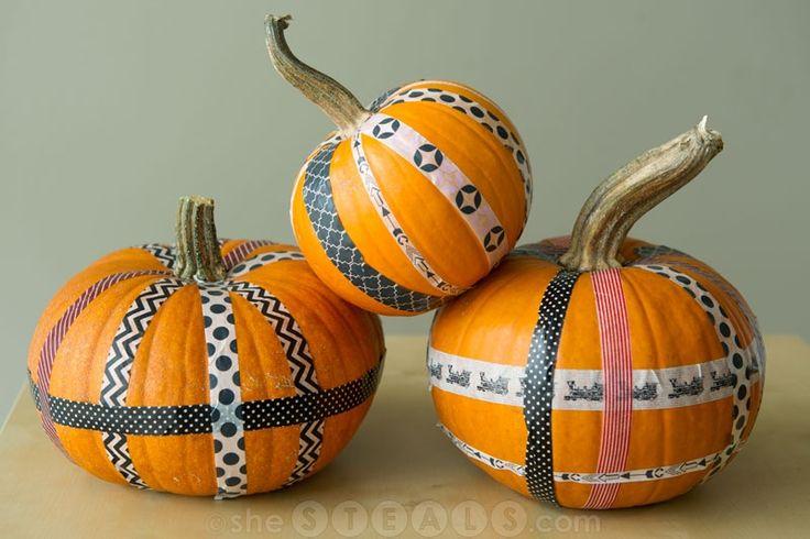DIY fall washi tape pumpkins