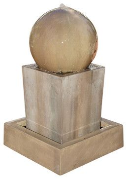 Obtuse Outdoor Fountain with Ball, Rustic contemporary-outdoor-fountains-and-ponds