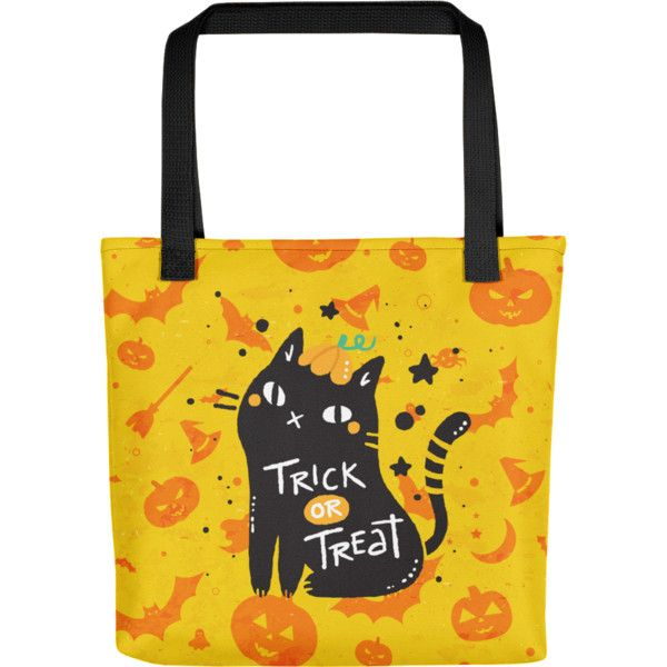 Halloween Cat Bag Trick or Treat Fashion Tote Bag With a Zipper ($28) ❤ liked on Polyvore featuring bags, handbags, tote bags, cat purse, zip purse, yellow tote bag, cat handbags and handbags totes