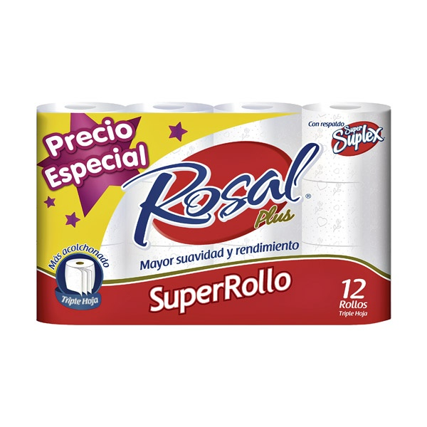 Papel higiénico Rosal plus Super rollo, triple hoja x 12 Und