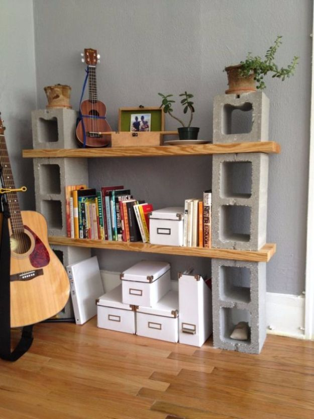 DIY Shelves and Do It Yourself Shelving Ideas - Concrete Shelves - Easy Step by Step Shelf Projects for Bedroom, Bathroom, Closet, Wall, Kitchen and Apartment. Floating Units, Rustic Pallet Looks and Simple Storage Plans http://diyjoy.com/diy-shelving-projects