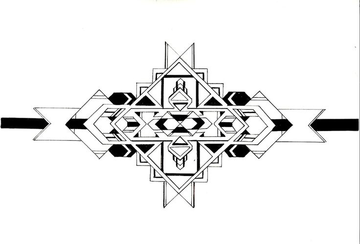 Geometric Illustration Print. Freehand Symetrical Aztec Design. A4 Fine Line Pen and Ink Drawing