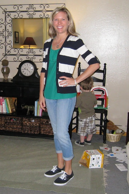 Cute, casual outfit with striped cardigan. Moms Have Style, Too!