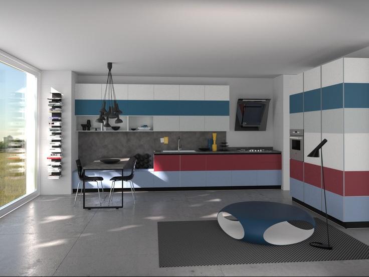 Tetrix by Micheal #Young #Scavolini #kitchen. #Livingroom Colour Kit K25.