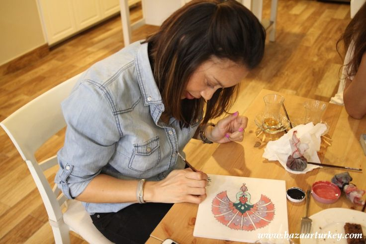Turkish Tile Painting workshop with our students from UK and Souh Africa. Floral Tile Ceramic Painting Classes in Sultanahmet Istanbul during Ramadan 2016