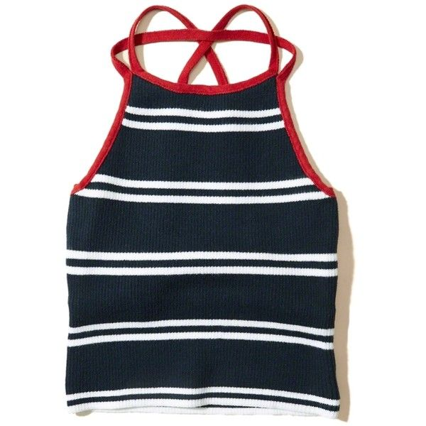 Hollister Strappy High-Neck Crop Top ($25) ❤ liked on Polyvore featuring tops, navy stripe, navy blue crop top, blue striped top, navy top, spaghetti-strap tops and stripe crop top
