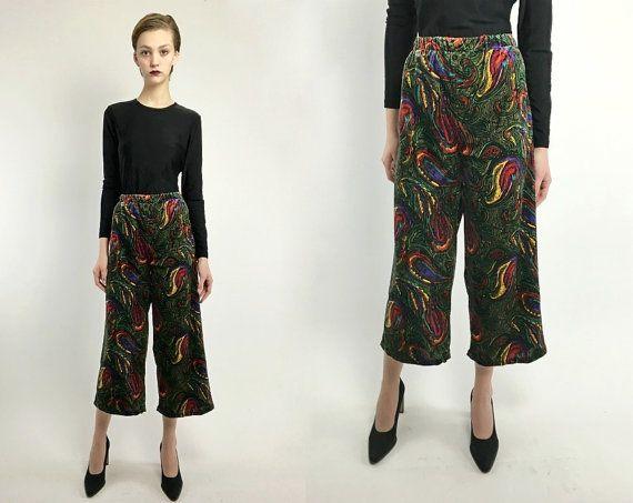Vintage 60s 70s VELVET Paisley High Waist PSYCHEDELIC Wide Leg Capri Trousers Pants M