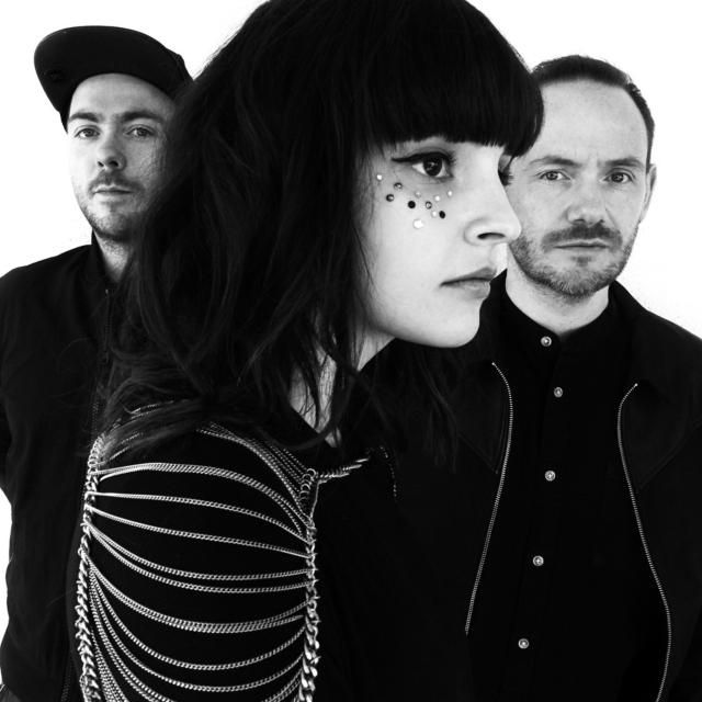 chvrches lead singer Lauren Mayberry adopts a bold makeup look to match the style of indie electronic music the band play.