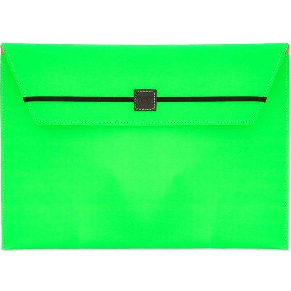 UNDER COVER Fluorescent envelope clutch ($41) ❤ liked on Polyvore featuring bags, handbags, clutches, neon purse, envelope clutch bag, green handbags, neon handbags and neon envelope clutch