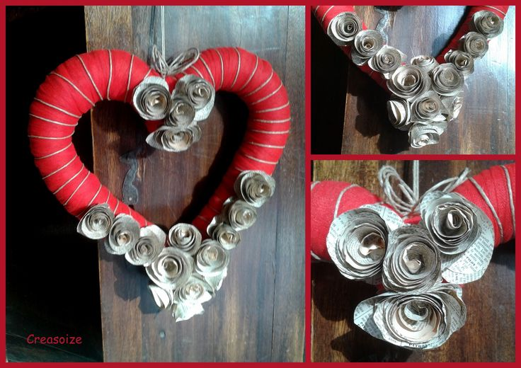 Couronne c ur fleurs papier shabby chic saint valentin for Coeur couronne et miroir apollinaire