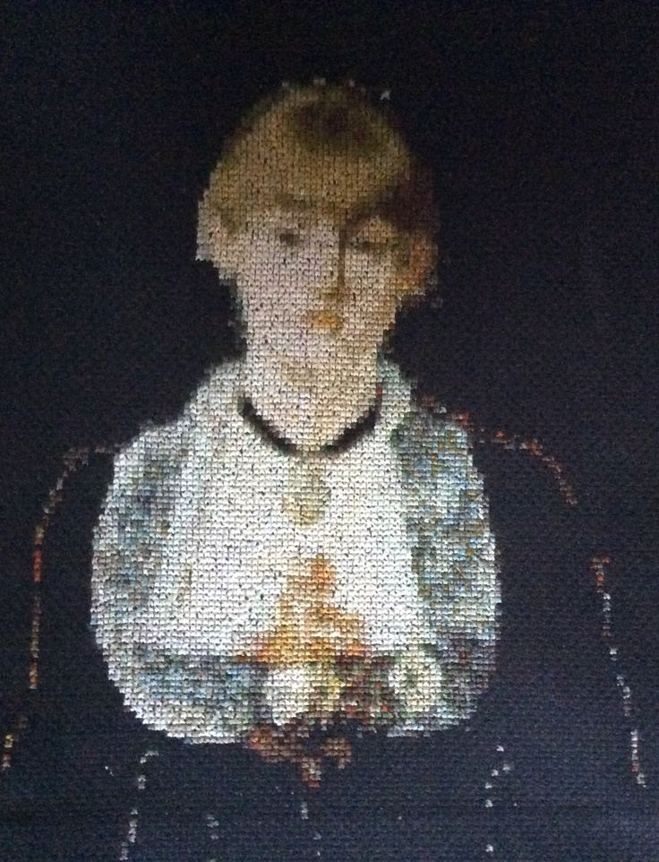 edouard manet.a bar at the folies-bergeres, portrait.cross stitch,my  work