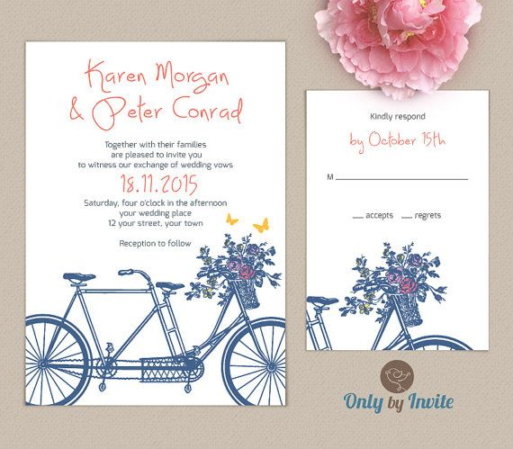Tandem Bicycle Wedding Invitation Set Personalized | Elegant Wedding Invitation and RSVP card