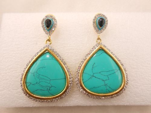 GTE-06-Tourquoise-Quartz-Earring-Gold-Plated-Crystal-Rhinestone-studded