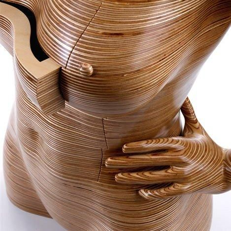 Mixed wooden furniture - female body with drawers