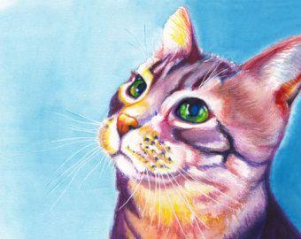 """5 x 7"""" kleurrijke kat aquarel Giclee Fine Art Print [aquarel kat Print kunst aan de muur Cat, kat schilderij, dierlijke kunst, kat Artwork]"""