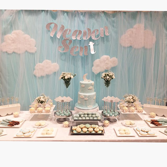 "Heaven Sent Baby shower theme and sweet table. (@sandrassweetcreations) on Instagram: ""A few more photos from today! Beautiful day for my beautiful sister and mommy to be! :) #babyshower…"""