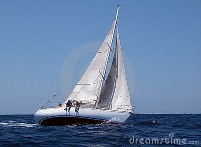 Sailing in regatta with strong wind