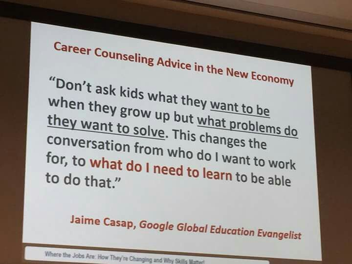 Ask children what problems they want to solve when they grow up, not what they want to be.  The answer gives a direction to what do they need to learn to be able to do that.