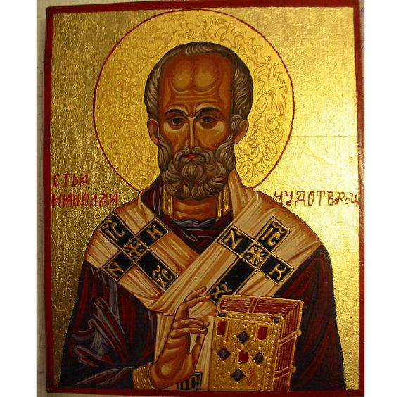 Handpainted Icon of st Nickolas by WoodAlive on Etsy, 120.77€