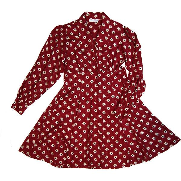 90s maroon daisy floral print long sleeve skater dress w/ lace up back... (93 BRL) ❤ liked on Polyvore featuring dresses, red floral dress, long sleeve dress, long-sleeve skater dresses, long-sleeve floral dresses and maroon skater dress