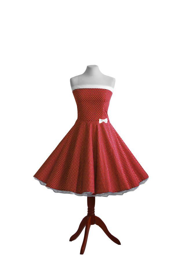 Koktejlové šaty - taneční šaty spodnička jsem stylu 50. červenými puntíky let - návrhář kus elahe na DaWanda